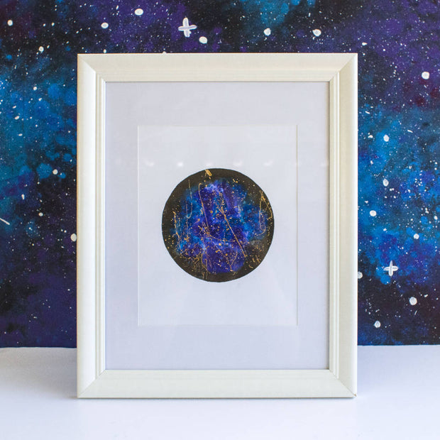 Framed Ink Moon with Foil Details