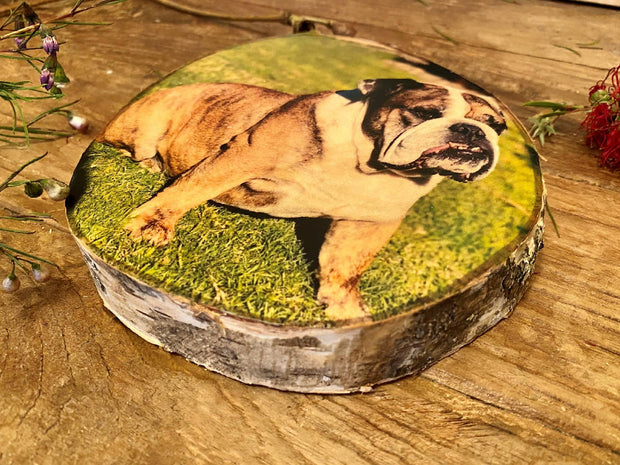 Custom Pet Portrait, Personalised Pet Wood Slice Photo Print, Custom Photo Gift, Handmade Wood Block, Rustic Photo Gift, Pet Lovers, Birthday Present, Photo Memory Block