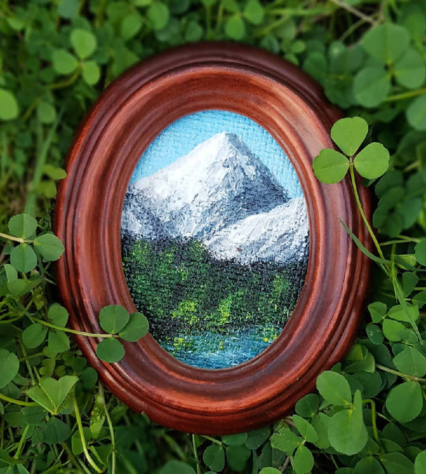 "Mountain Painting - Original Landscape in Oval Frame - ""Mountain Range No.1"""