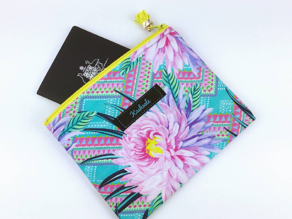 Geometric Floral Clutch, Passport Pouch.
