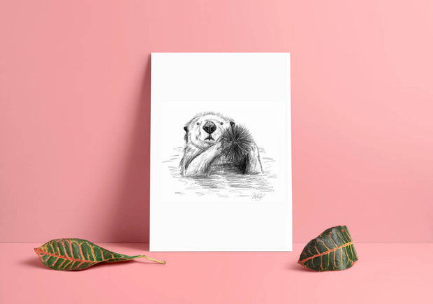 Sea Otter Art Print - Nautical Drawing - A4