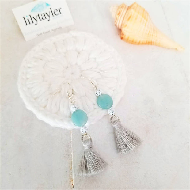 Amazonite Soft Grey Tassel Earrings