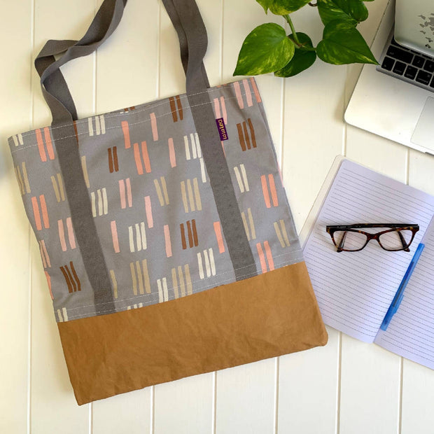 Cotton Tote Bag - Grey Dash