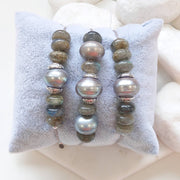 Sterling Silver, Labradorite and Grey Fresh Water Pearl adjustable stacking bracelet