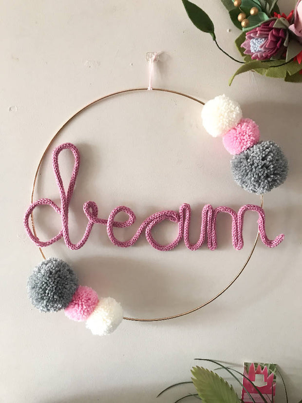 Wire word DREAM hoop art