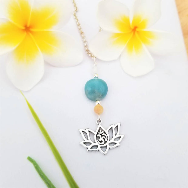 Amazonite Lotus Omh Necklace