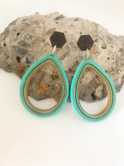 Teal Teardrop quilled earrings made from paper.