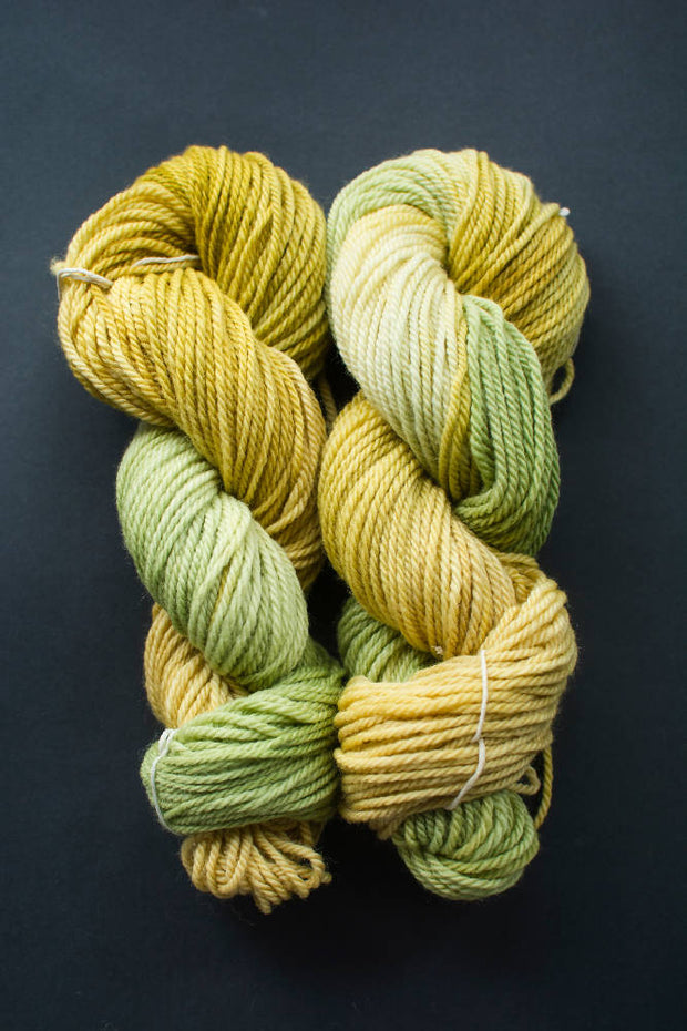 "Hand dyed yarn in ""Golden Woods"", 12ply New Zealand Corriedale & Perendale yarn"