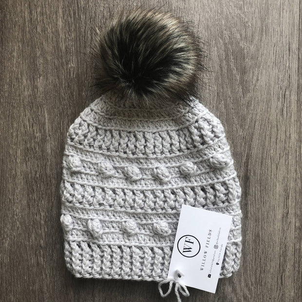 Adult Aussie Wool Bobble Beanie - Light Grey