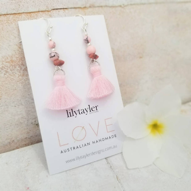 Pink Rhodonite Tassel Earrings