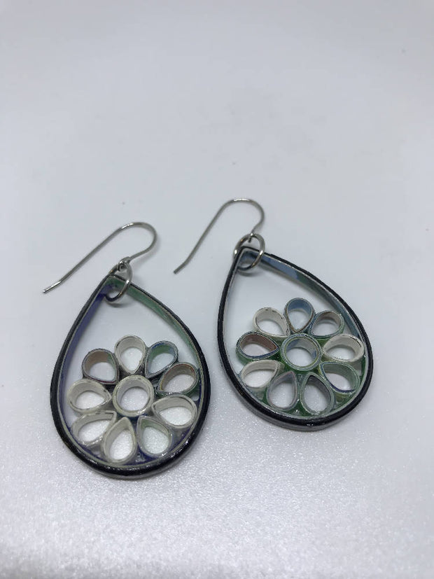 Black multi teardrop flower quilled earrings made from paper