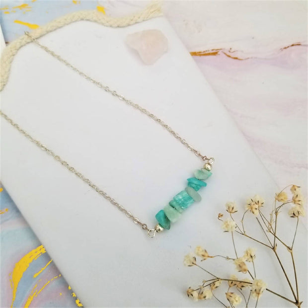 Sale! Amazonite Crystal Curb Necklace
