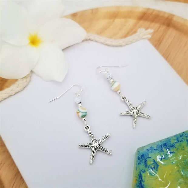 Sale! Starfish Shell Bead Earrings
