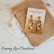 Animal Print Faux Leather Strip Earrings with gold studs