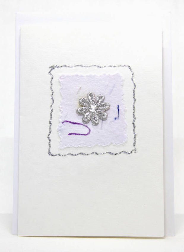 Daisy Greeting Card - Silver