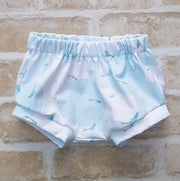 organic baby shorts, cute nappy cover, littl fish bummies