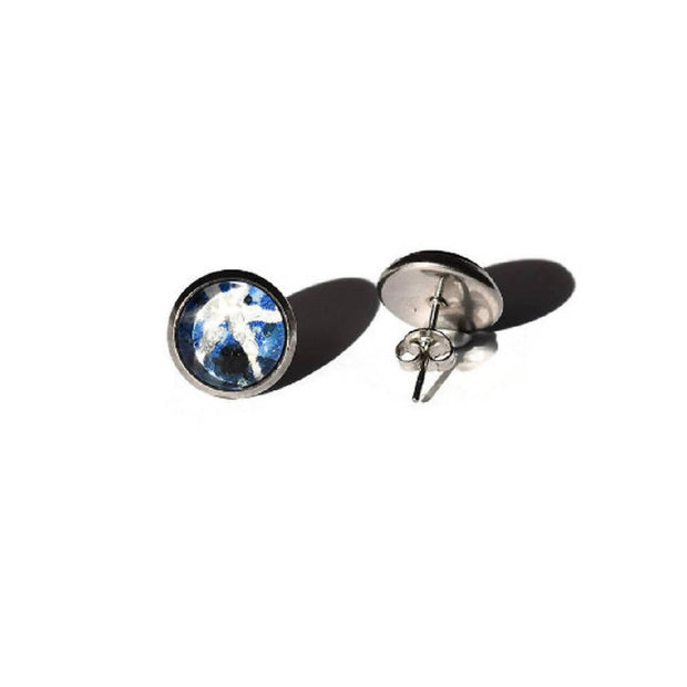 Vintage Star Sapphire Postage Stamp Stud Earrings, Geology, Stainless Steel Studs, Blue, Favors, Mineralogy, Mineral Stamp, Vintage Studs