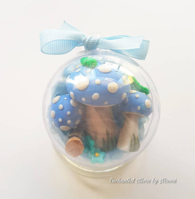 Blue Fairy Garden set in a Christmas Baubles (with bright green Caterpillar)