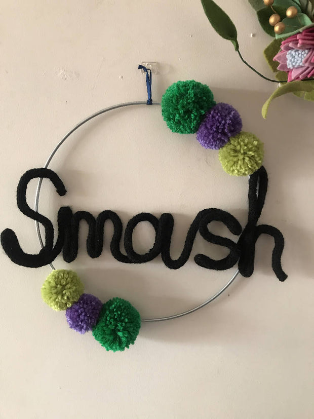 Superhero Wire word SMASH hoop art