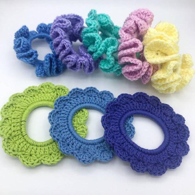 Hand crocheted hair scrunchies