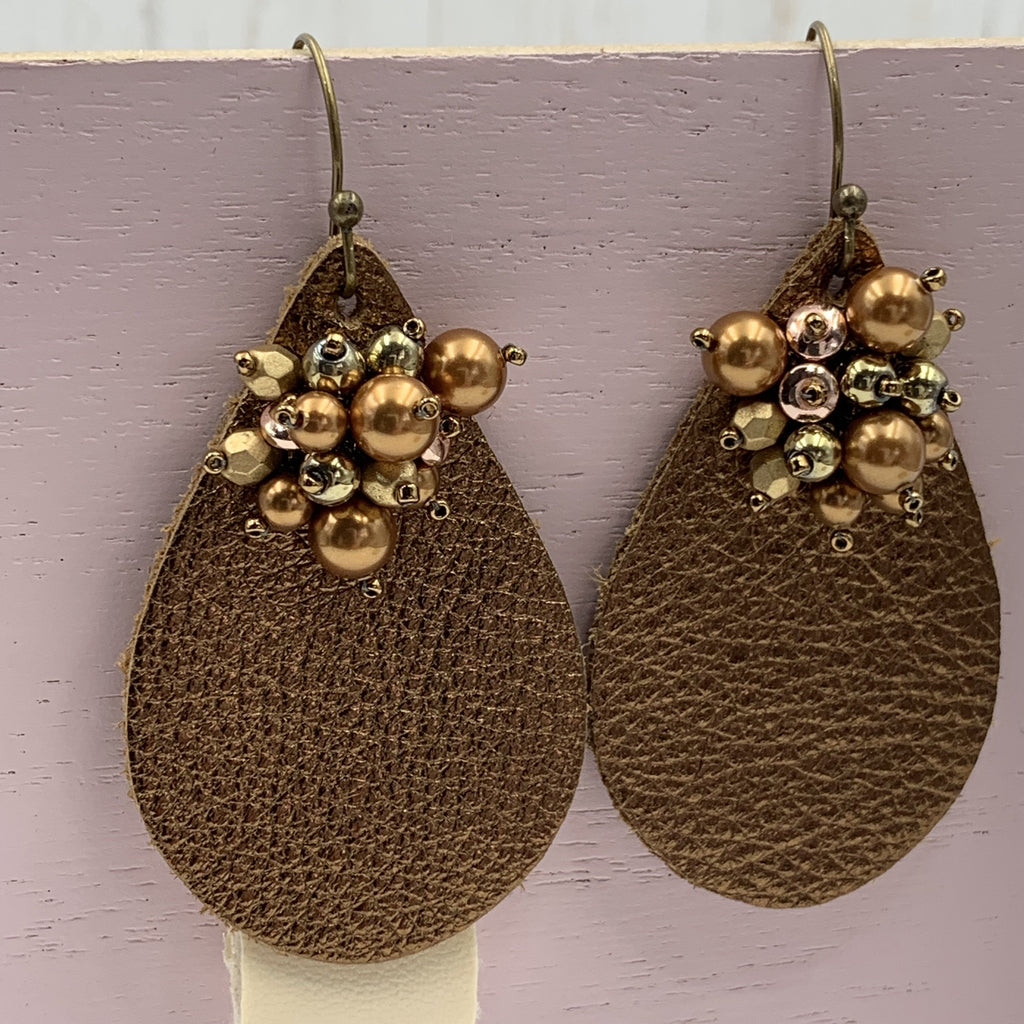 Bronze Faux Leather Earrings