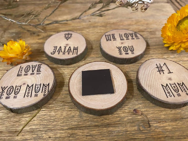 Wood slice magnets - Rustic mothers day gift, Boho photo magnet, personalised wood magnet, natural timber gift, gift for Mum, present