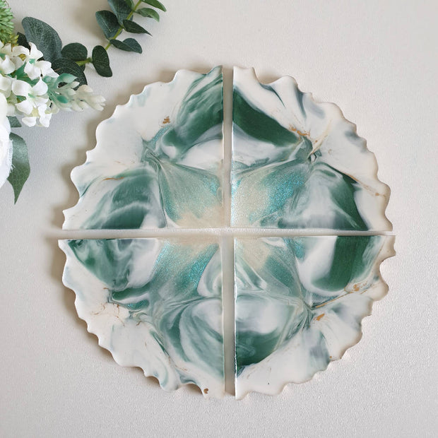 Green and white opal coasters