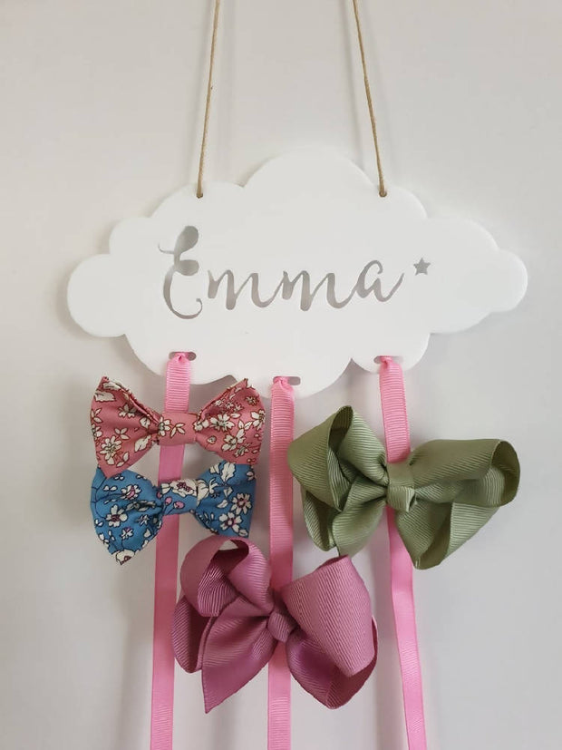Personalised Bow Holder - Cloud
