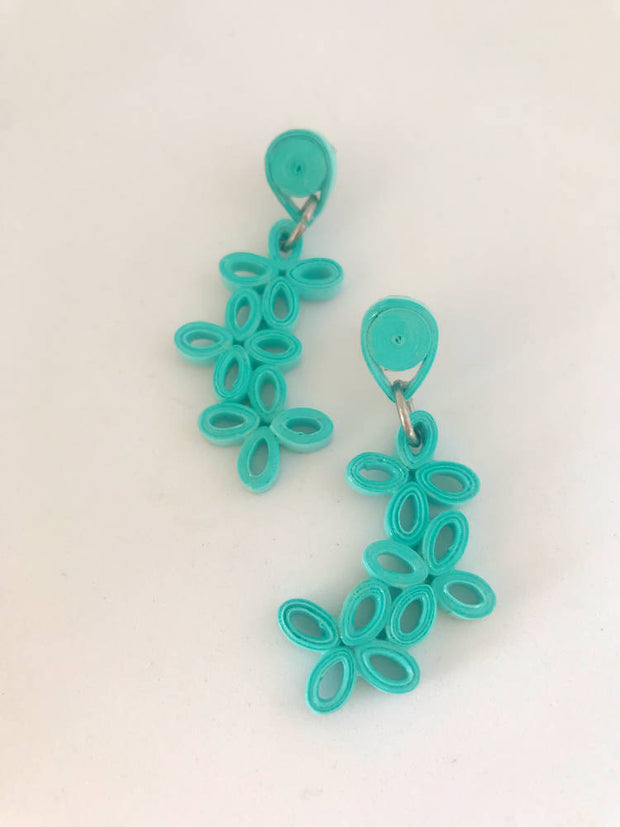 Teal small flower quilled earrings made from paper.