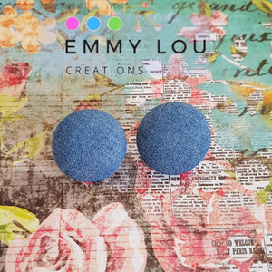 Chambray Fabric Button Earrings