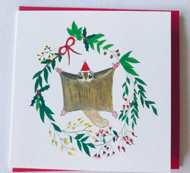 Small Christmas card - sugar glider in floral wreath