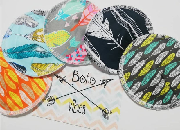 Boho vibes reusable Nursing pads set of 5