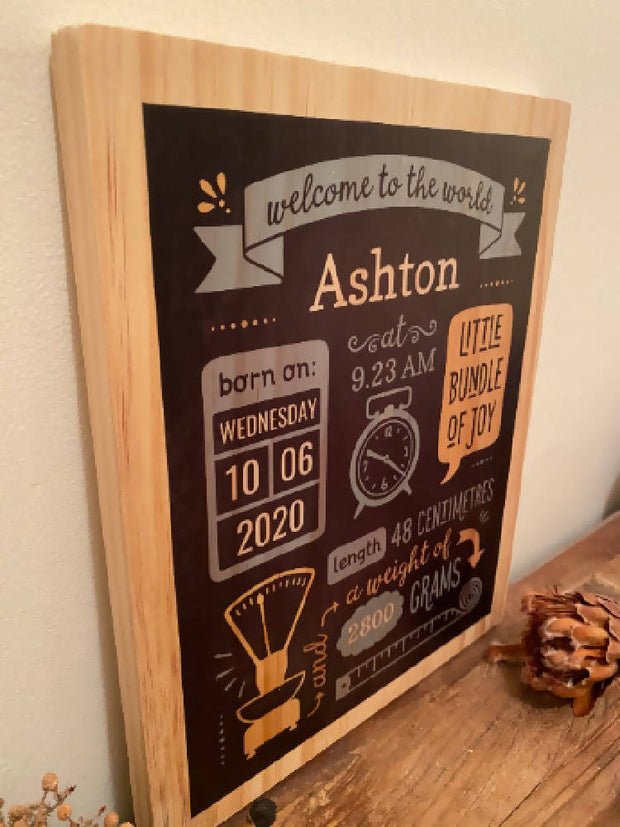 Custom Birth Stats Board - Birth announcement, wooden baby keepsake, birth statistics wall decor, baby birth announcement, nursery decor