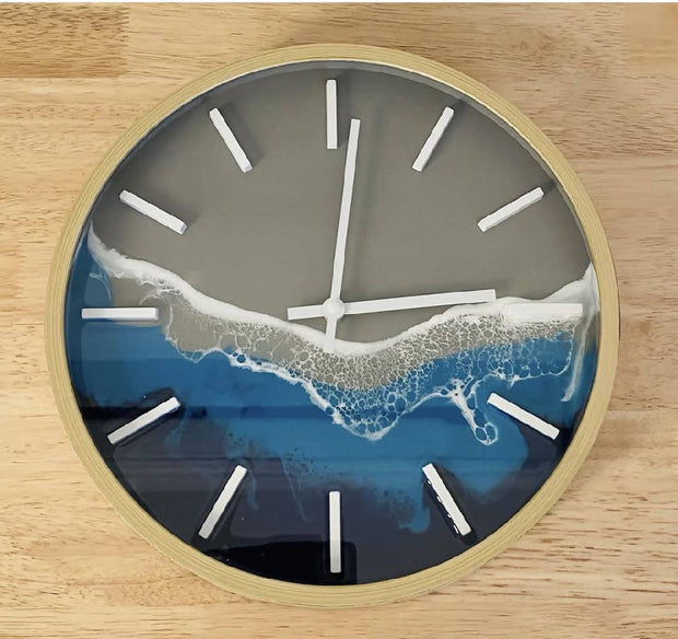 Timber look clock with ocean resin art