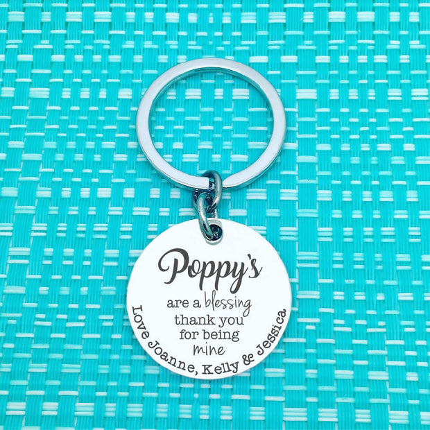 Dad Gifts - Daddy's area a blessing, personalised keyring (Change Daddy to another name of your choosing)