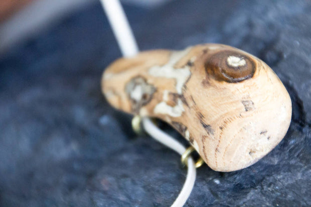 Reclaimed Salvaged Drift Wood Pendant & Cream Suede Adjustable Cord Unisex Necklace