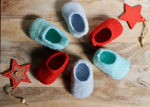 Baby's first Christmas Clogs - 100% wool felted handmade baby shoes