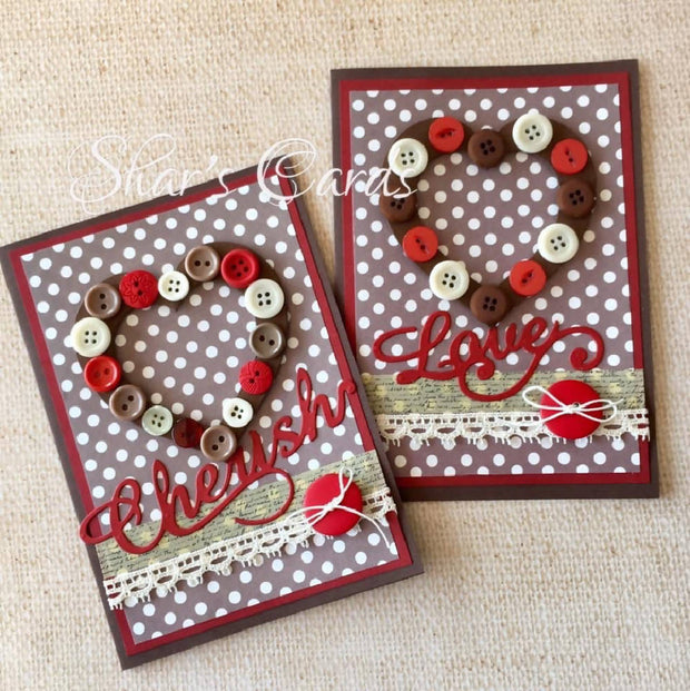 Love & Cherish button card. Anniversary/Valentines