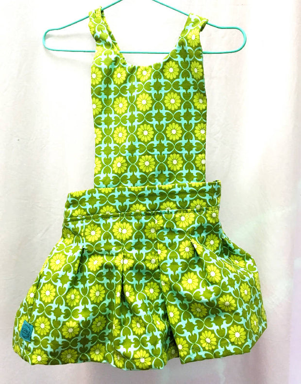 Green floral organic cotton overalls