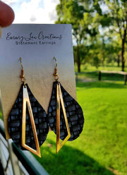 Black Weaved Faux Leather Earrings with Gold Pendant