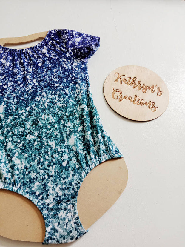 Blue Ombre Glitter Short Sleeved Leotard - Size 4