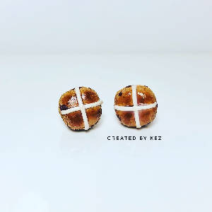 Hot Cross Bun Studs
