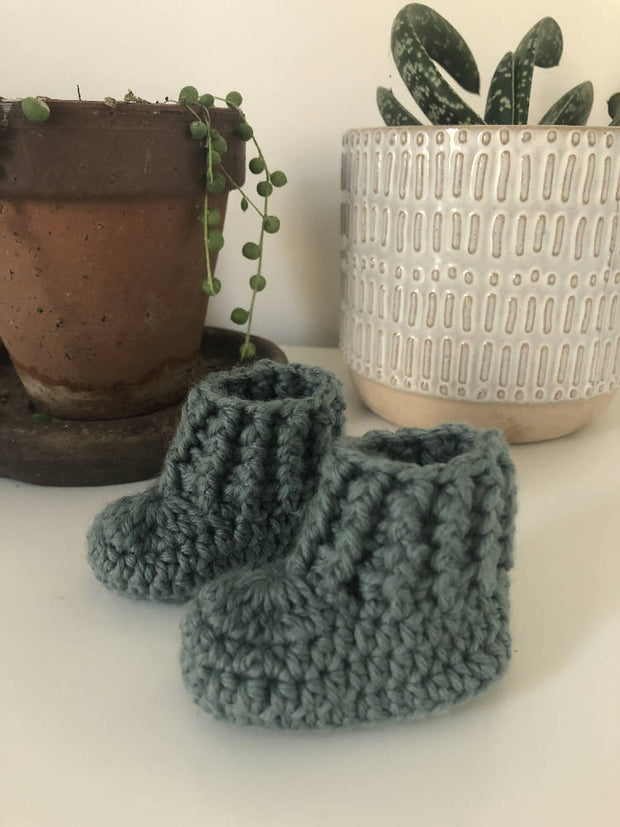 Aussie Wool Baby Booties - Blue Gum