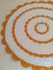 Mustard and Cream Ready Made Crochet Floor Rug