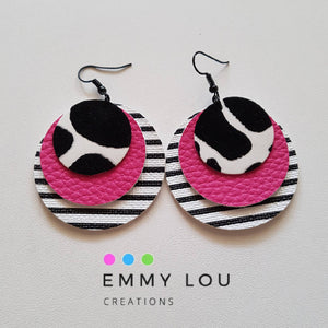 Triple Layer Stripey Pink Cow Faux Leather Earrings