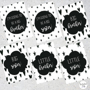 Monochrome Sibling Milestone Cards