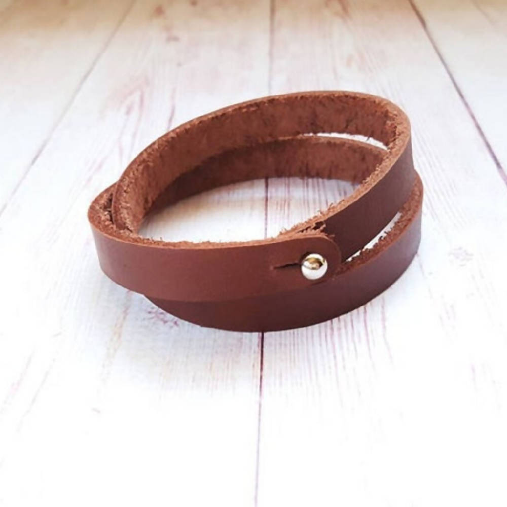 Personalised Leather Bracelet (Double Wrapped)