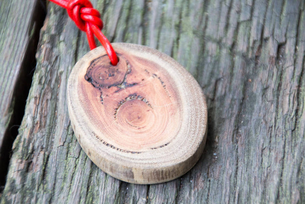 Reclaimed Wood Pendant & Red Leather Cord Unisex Necklace