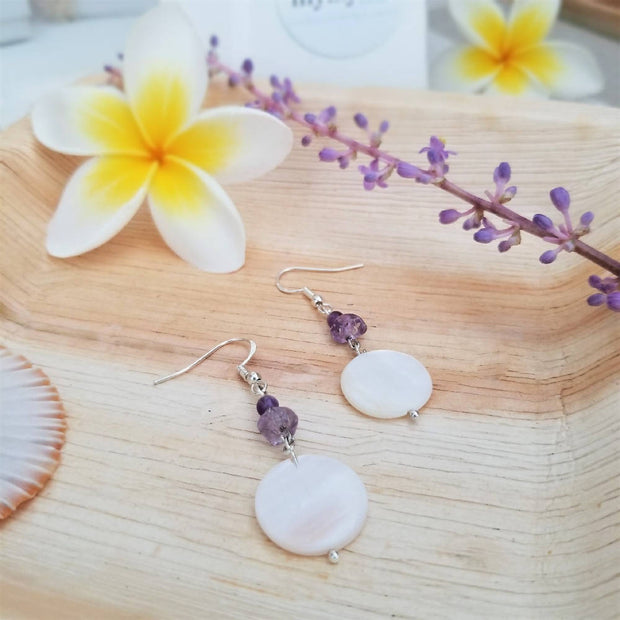 Amethyst Coral Shell Earrings