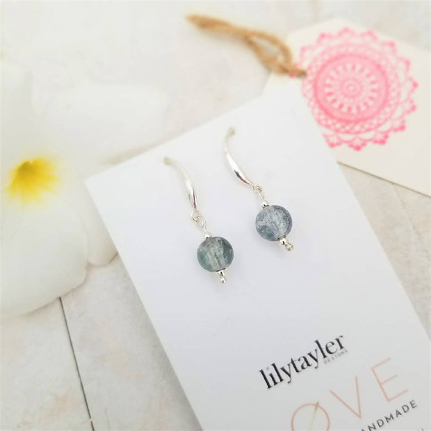 Sale! Blue Crackle Glass Earrings